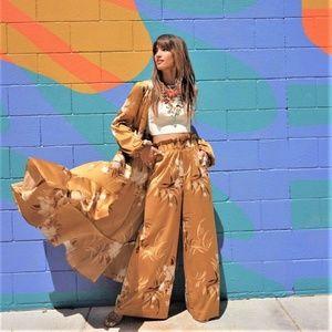 NEW Express Rocky Barnes Satin wrap Kimono Dress